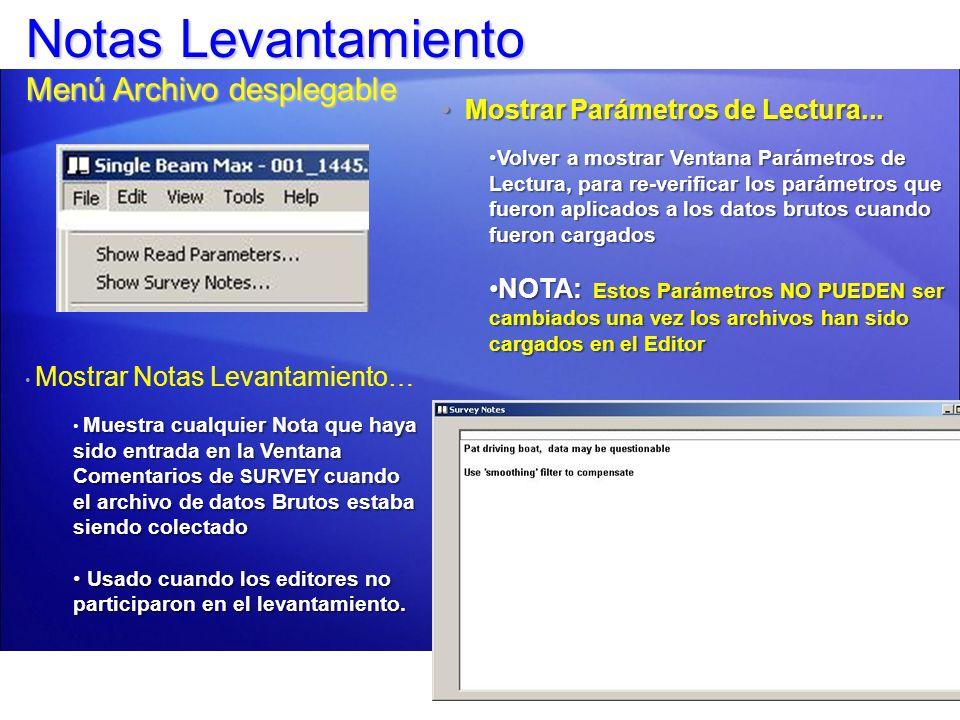 Estadísticas, Integración y Correcciones: Menú Archivo (File) Sobrepuesta: Sobreponga archivos de sondeo adicionales tomados con la misma línea de levantamiento.