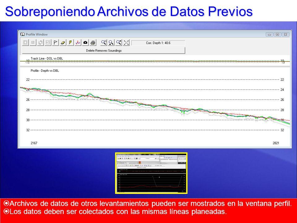 Sobreponiendo Archivos de Datos Previos Archivos de datos de otros levantamientos pueden ser mostrados en la ventana perfil. Los datos deben ser colec