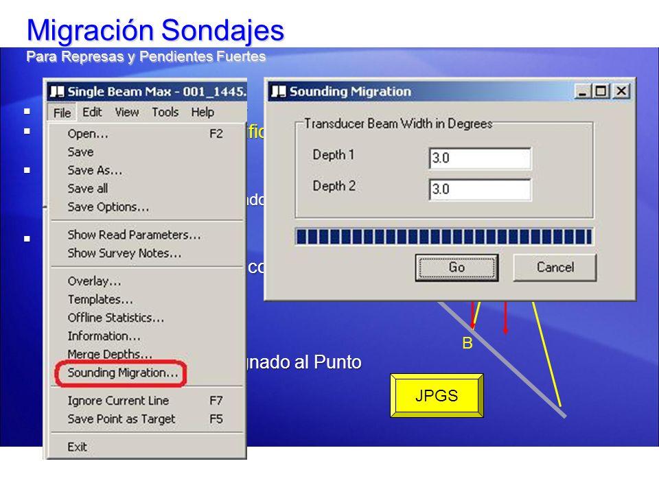 Migración Sondajes Para Represas y Pendientes Fuertes A = Posición Transducer A = Posición Transducer B = Punto de 1 er Enzonificación B = Punto de 1
