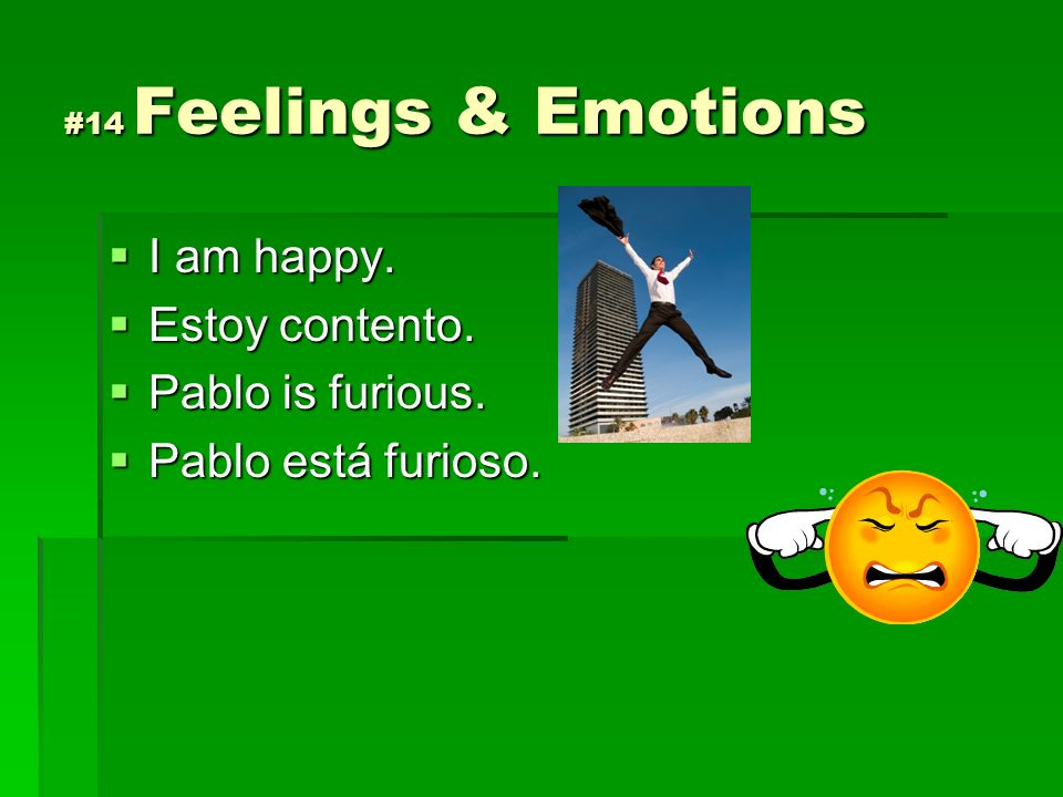 #14 Feelings & Emotions I am happy. I am happy. Estoy contento. Estoy contento. Pablo is furious. Pablo is furious. Pablo está furioso. Pablo está fur