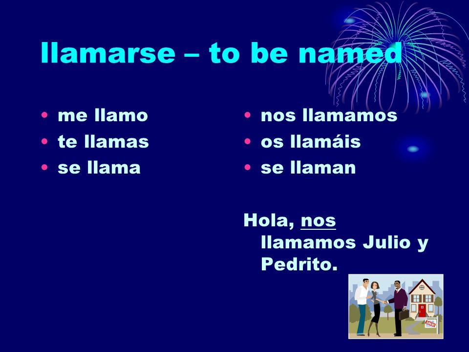 llamarse – to be named me llamo te llamas se llama nos llamamos os llamáis se llaman Hola, nos llamamos Julio y Pedrito.