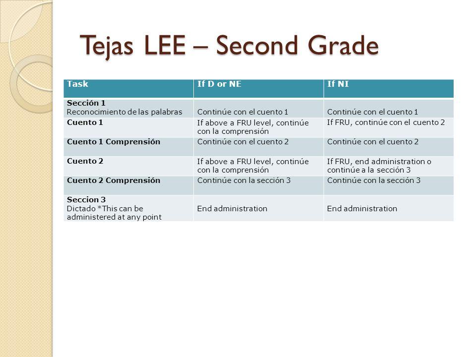 Tejas LEE – Second Grade TaskIf D or NEIf NI Sección 1 Reconocimiento de las palabrasContinúe con el cuento 1 Cuento 1If above a FRU level, continúe c
