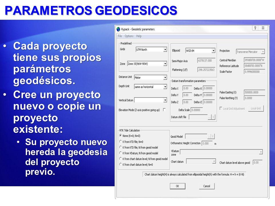PARAMETROS GEODESICOS Cada proyecto tiene sus propios parámetros geodésicos.Cada proyecto tiene sus propios parámetros geodésicos. Cree un proyecto nu