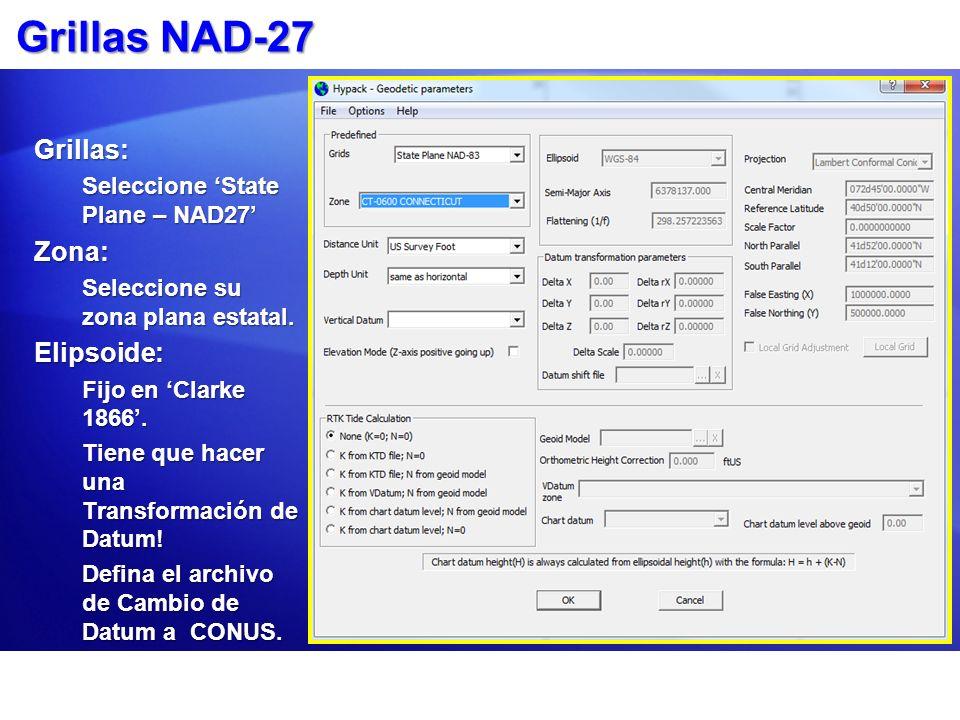 Grillas NAD-27 Grillas: Seleccione State Plane – NAD27 Zona: Seleccione su zona plana estatal. Elipsoide: Fijo en Clarke 1866. Tiene que hacer una Tra