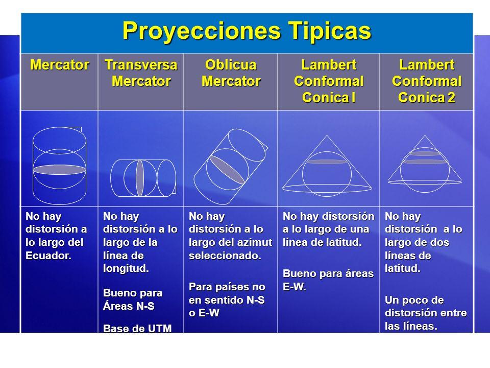 Proyecciones Tipicas Mercator Transversa Mercator Oblicua Mercator Lambert Conformal Conica I Lambert Conformal Conica 2 No hay distorsión a lo largo