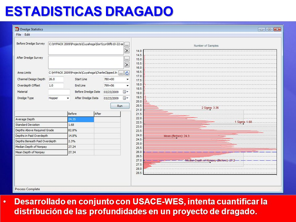 ESTADISTICAS DRAGADO Desarrollado en conjunto con USACE-WES, intenta cuantificar la distribución de las profundidades en un proyecto de dragado.Desarr