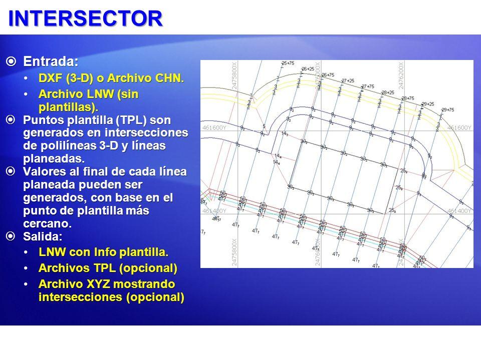 INTERSECTOR Entrada: Entrada: DXF (3-D) o Archivo CHN.DXF (3-D) o Archivo CHN. Archivo LNW (sin plantillas).Archivo LNW (sin plantillas). Puntos plant