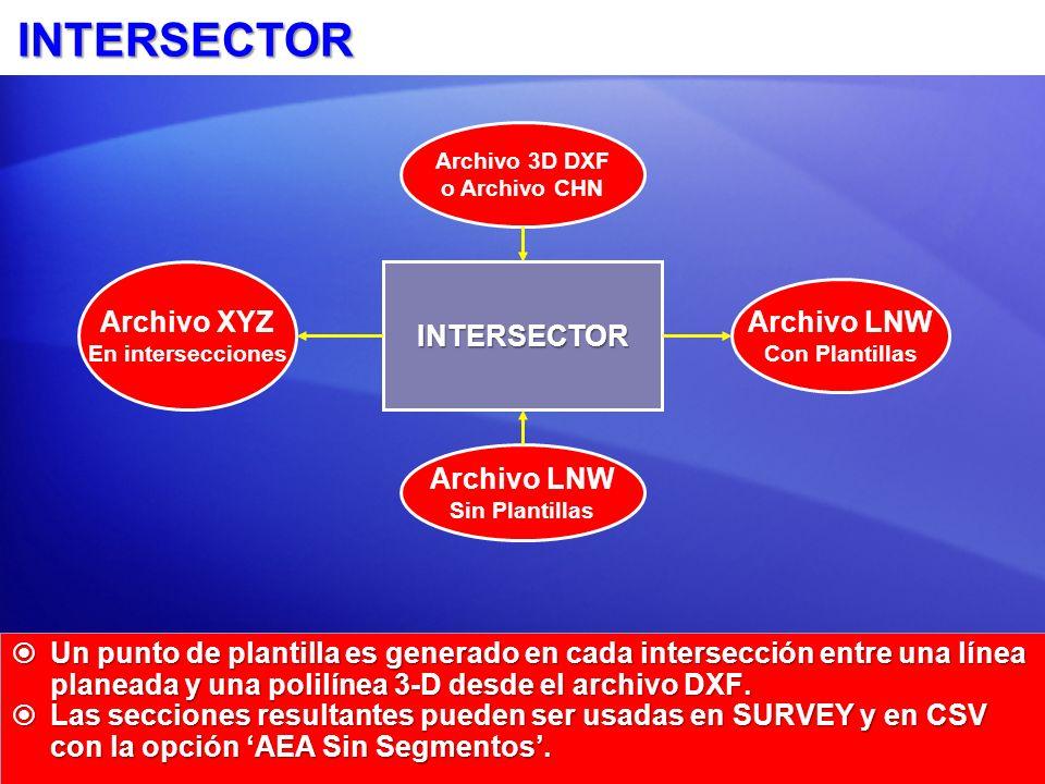 INTERSECTOR Un punto de plantilla es generado en cada intersección entre una línea planeada y una polilínea 3-D desde el archivo DXF. Un punto de plan