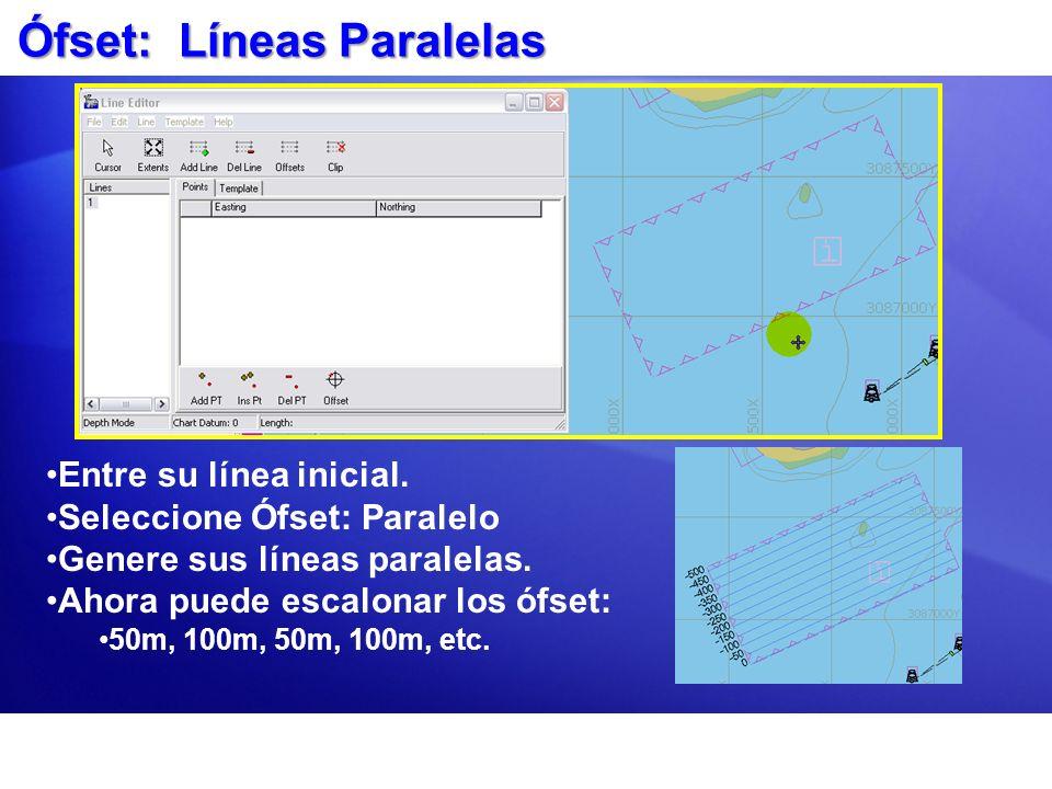 Ófset: Líneas Paralelas Entre su línea inicial. Seleccione Ófset: Paralelo Genere sus líneas paralelas. Ahora puede escalonar los ófset: 50m, 100m, 50