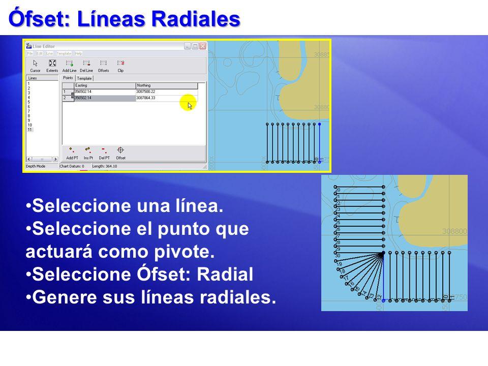 Ófset: Líneas Radiales Seleccione una línea. Seleccione el punto que actuará como pivote. Seleccione Ófset: Radial Genere sus líneas radiales.