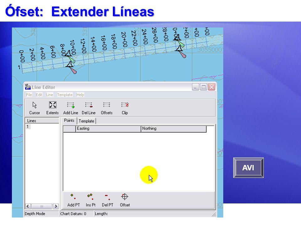 Ófset: Extender Líneas Cargue un archivo LNW existente en el Editor de Líneas. Seleccione Ófset: Extender Líneas Entre la info de extensión. AVI