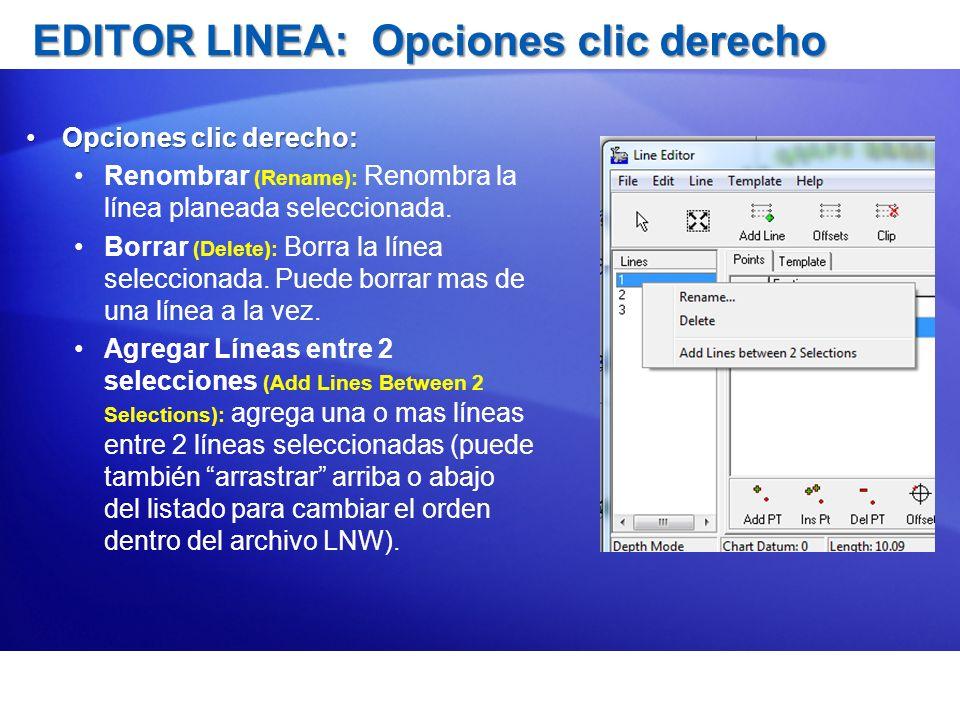 EDITOR LINEA: Opciones clic derecho Opciones clic derecho:Opciones clic derecho: Renombrar (Rename): Renombra la línea planeada seleccionada. Borrar (
