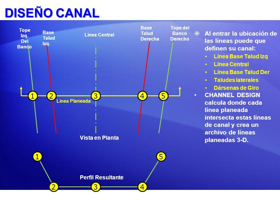 DISEÑO CANAL Al entrar la ubicación de las líneas puede que definen su canal: Línea Base Talud Izq Línea Central Línea Base Talud Der Taludes laterale