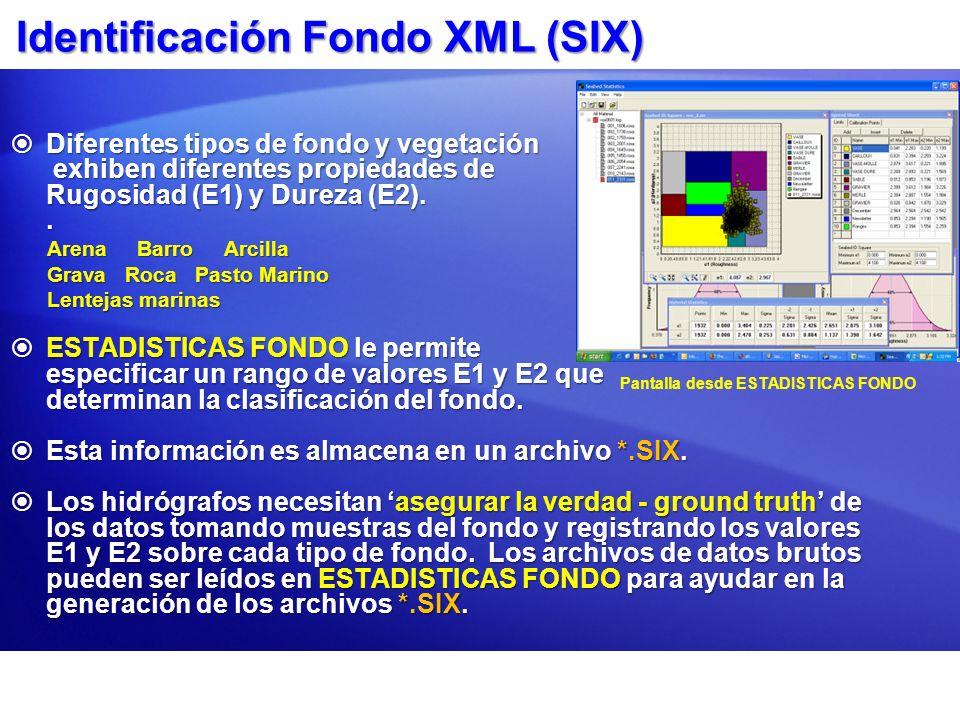 Identificación Fondo XML (SIX) Diferentes tipos de fondo y vegetación Diferentes tipos de fondo y vegetación exhiben diferentes propiedades de exhiben