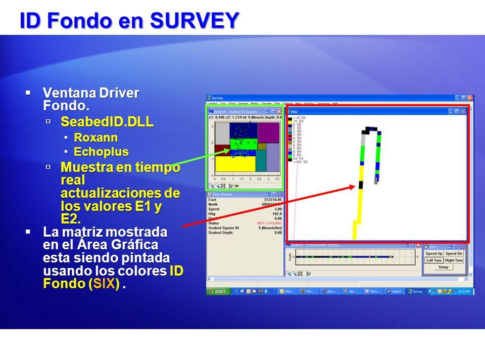 ID Fondo en SURVEY Ventana Driver Fondo. Ventana Driver Fondo. SeabedID.DLL SeabedID.DLL Roxann Roxann Echoplus Echoplus Muestra en tiempo real actual