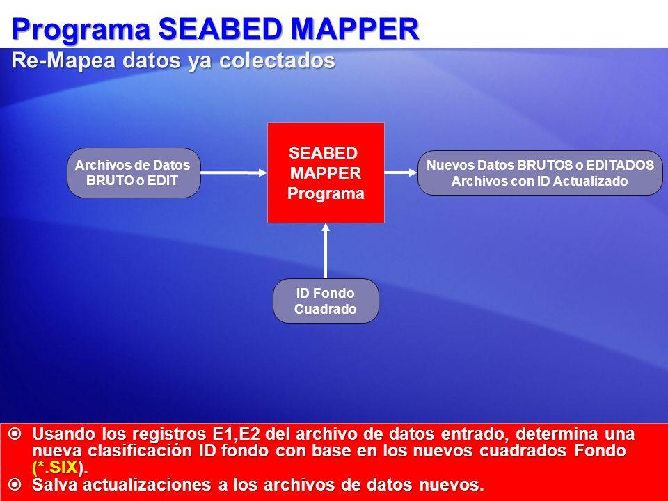Programa SEABED MAPPER Re-Mapea datos ya colectados Usando los registros E1,E2 del archivo de datos entrado, determina una nueva clasificación ID fond