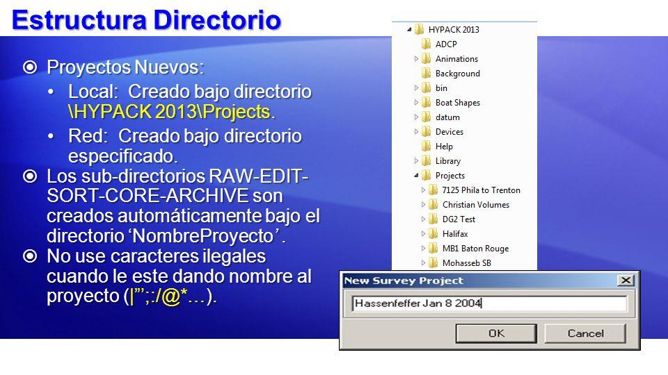 Estructura Directorio Proyectos Nuevos: Proyectos Nuevos: Local: Creado bajo directorio \HYPACK 2013\Projects.Local: Creado bajo directorio \HYPACK 20
