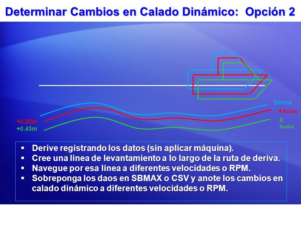 Determinar Cambios en Calado Dinámico: Opción 2 Derive registrando los datos (sin aplicar máquina). Derive registrando los datos (sin aplicar máquina)