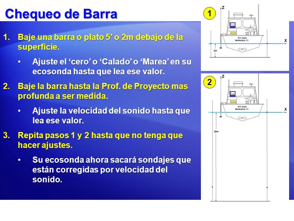 Chequeo de Barra 1.Baje una barra o plato 5 o 2m debajo de la superficie. Ajuste el cero o Calado o Marea en su ecosonda hasta que lea ese valor.Ajust
