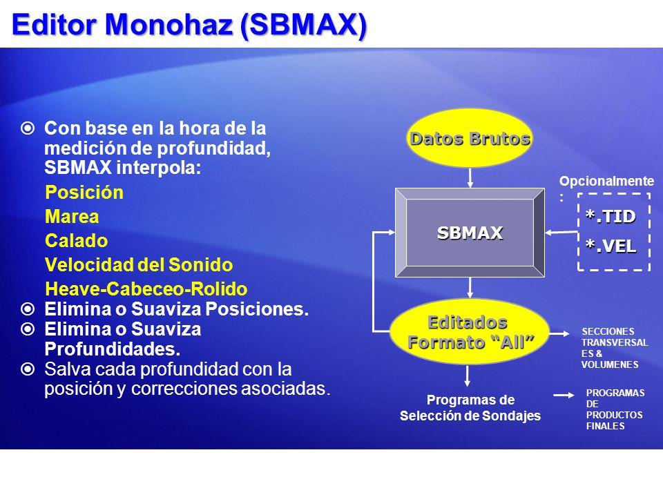 Editor Monohaz (SBMAX) Con base en la hora de la medición de profundidad, SBMAX interpola: Posición Marea Calado Velocidad del Sonido Heave-Cabeceo-Ro