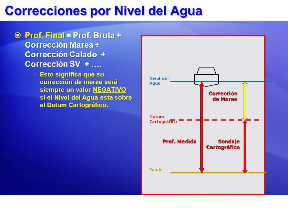 Correcciones por Nivel del Agua Prof. Final = Prof. Bruta + Corrección Marea + Corrección Calado + Corrección SV + …. Prof. Final = Prof. Bruta + Corr