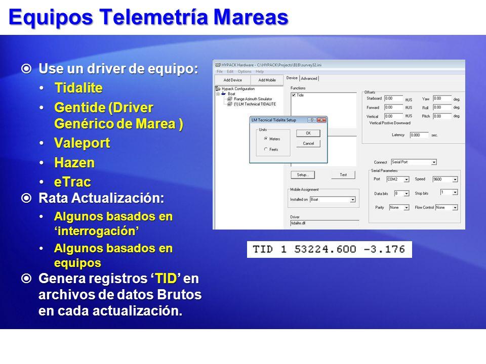 Equipos Telemetría Mareas Use un driver de equipo: Use un driver de equipo: TidaliteTidalite Gentide (Driver Genérico de Marea )Gentide (Driver Genéri