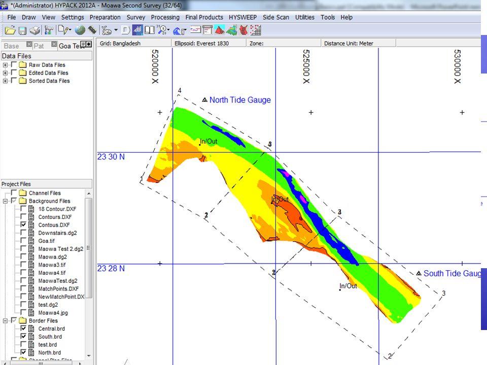 Mareas por Zonas Un archivo de Borde (*.BRD) es usado para describir cada zona. El usuario puede luego calcular el valor de marea: Usando 100% del arc