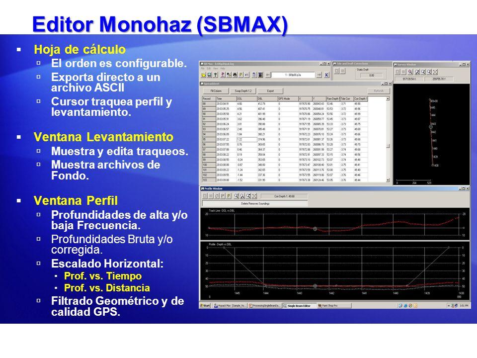 Editor Monohaz (SBMAX) Hoja de cálculo El orden es configurable. Exporta directo a un archivo ASCII Cursor traquea perfil y levantamiento. Ventana Lev