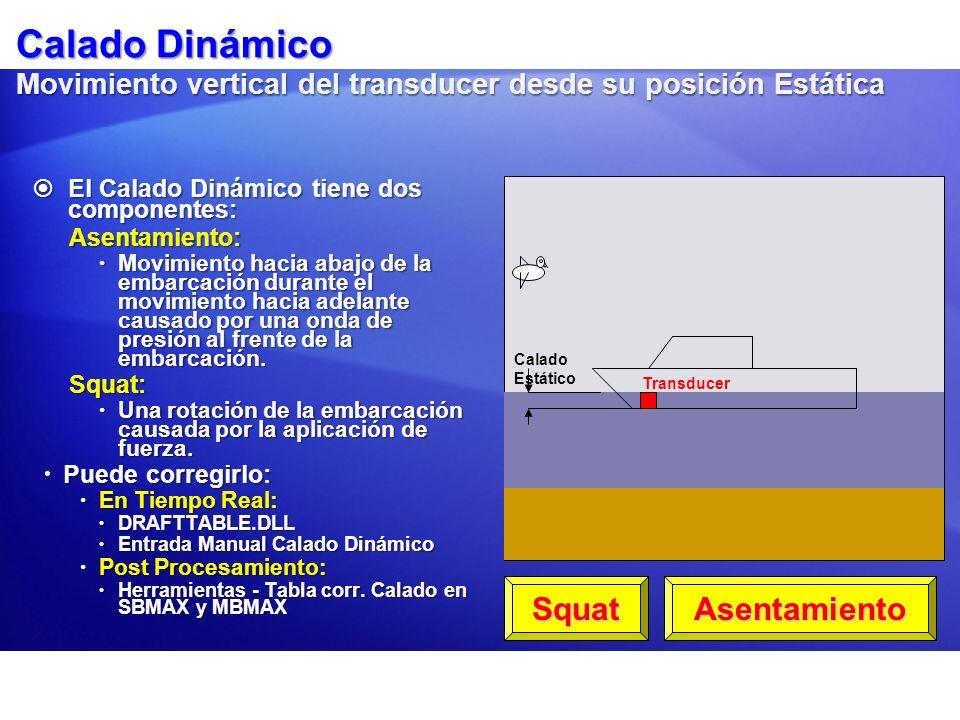 Calado Dinámico Movimiento vertical del transducer desde su posición Estática El Calado Dinámico tiene dos componentes: El Calado Dinámico tiene dos c