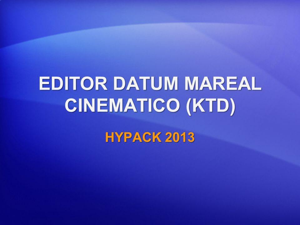 EDITOR KTD Los Archivos de Datum Mareal Cinematico (KTD) pueden ser usados en MAREAS RTK Puede ser accesado por GPS, POSMV o F180 DLLs para calcular Mareas RTK.