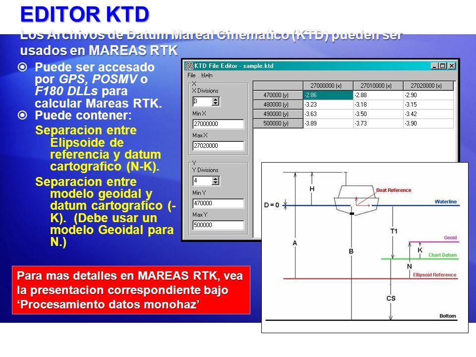 EDITOR KTD Los Archivos de Datum Mareal Cinematico (KTD) pueden ser usados en MAREAS RTK Puede ser accesado por GPS, POSMV o F180 DLLs para calcular M