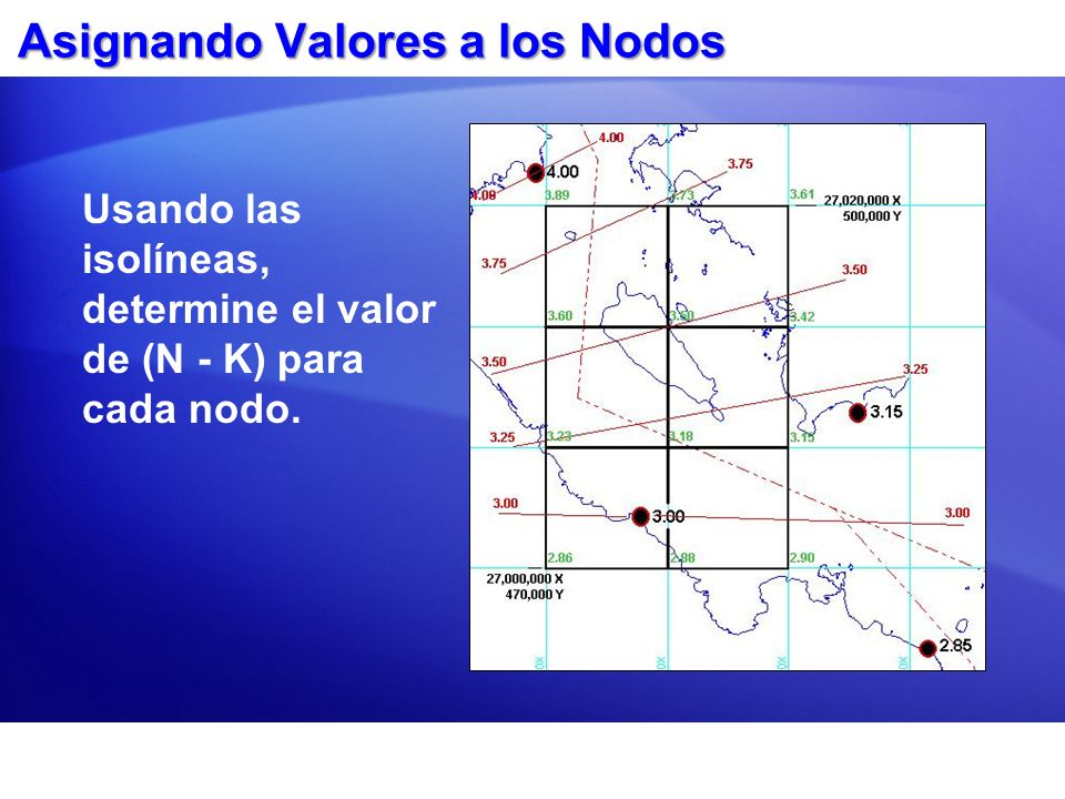 Asignando Valores a los Nodos Usando las isolíneas, determine el valor de (N - K) para cada nodo.