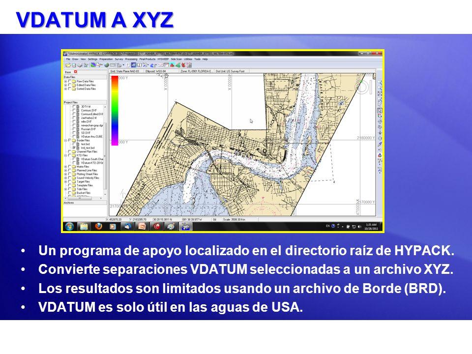 VDATUM A XYZ Un programa de apoyo localizado en el directorio raíz de HYPACK. Convierte separaciones VDATUM seleccionadas a un archivo XYZ. Los result