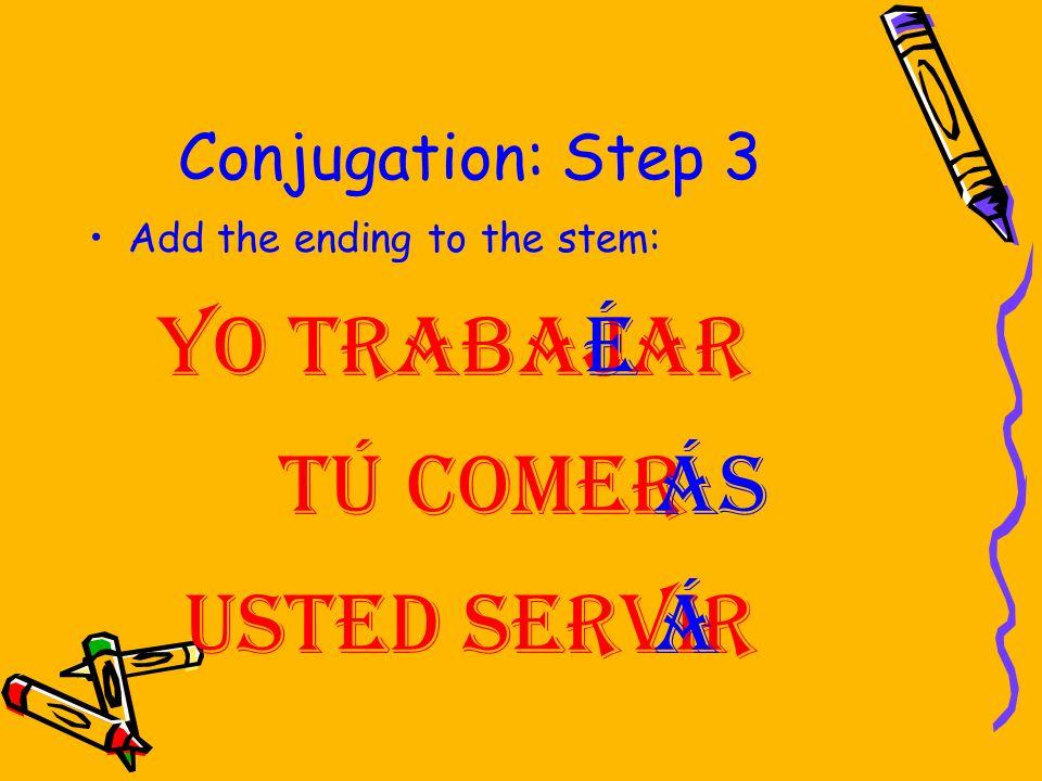 Conjugation: Step 2 Contd -án Ellos/ellas/ Uds. -éis Vosotros -emos Nosotros