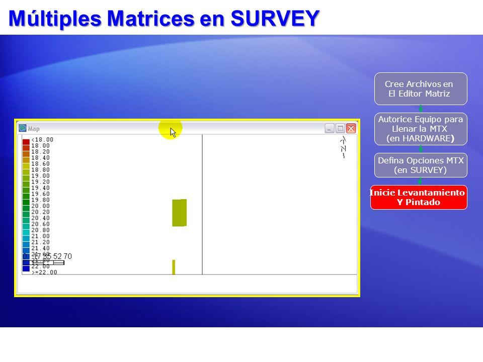 Múltiples Matrices en SURVEY Cree Archivos en El Editor Matriz Autorice Equipo para Llenar la MTX (en HARDWARE) Defina Opciones MTX (en SURVEY) Inicie