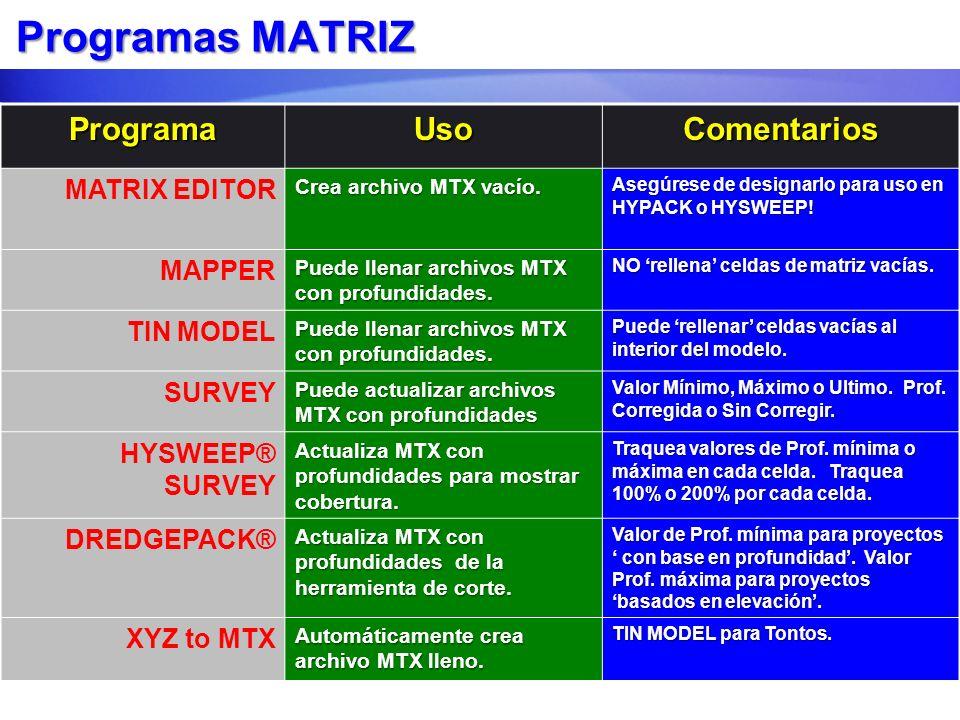 Programas MATRIZ ProgramaUsoComentarios MATRIX EDITOR Crea archivo MTX vacío. Asegúrese de designarlo para uso en HYPACK o HYSWEEP! MAPPER Puede llena