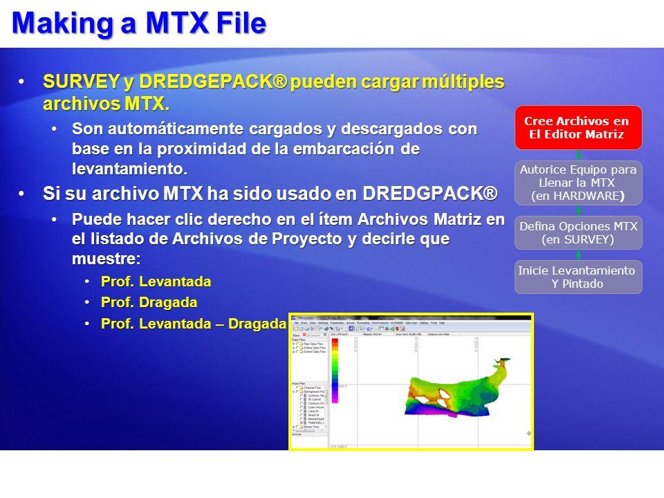 Seleccione el Equipo para llenar los Archivos MTX: Programa HARDWARE Cree Archivos en El Editor Matriz Autorice Equipo para Llenar la MTX (en HARDWARE) Defina Opciones MTX (en SURVEY) Inicie Levantamiento Y Pintado Si esta ejecutando HYPACK SURVEY y HYSWEEP SURVEY, las Prof.