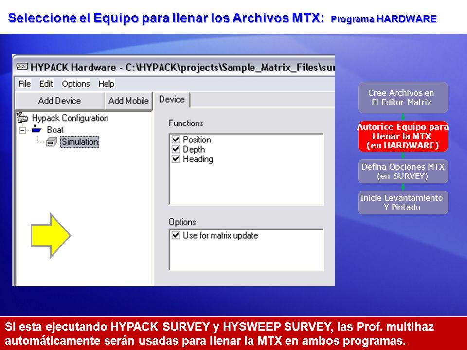 Seleccione el Equipo para llenar los Archivos MTX: Programa HARDWARE Cree Archivos en El Editor Matriz Autorice Equipo para Llenar la MTX (en HARDWARE