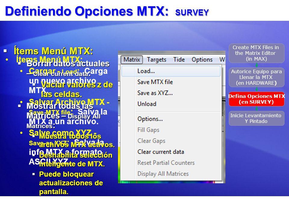Definiendo Opciones MTX: SURVEY Ítems Menú MTX: Cargar - Load : Carga un nuevo archivo MTX. Salvar Archivo MTX - Save MTX file : Salva la MTX a un arc