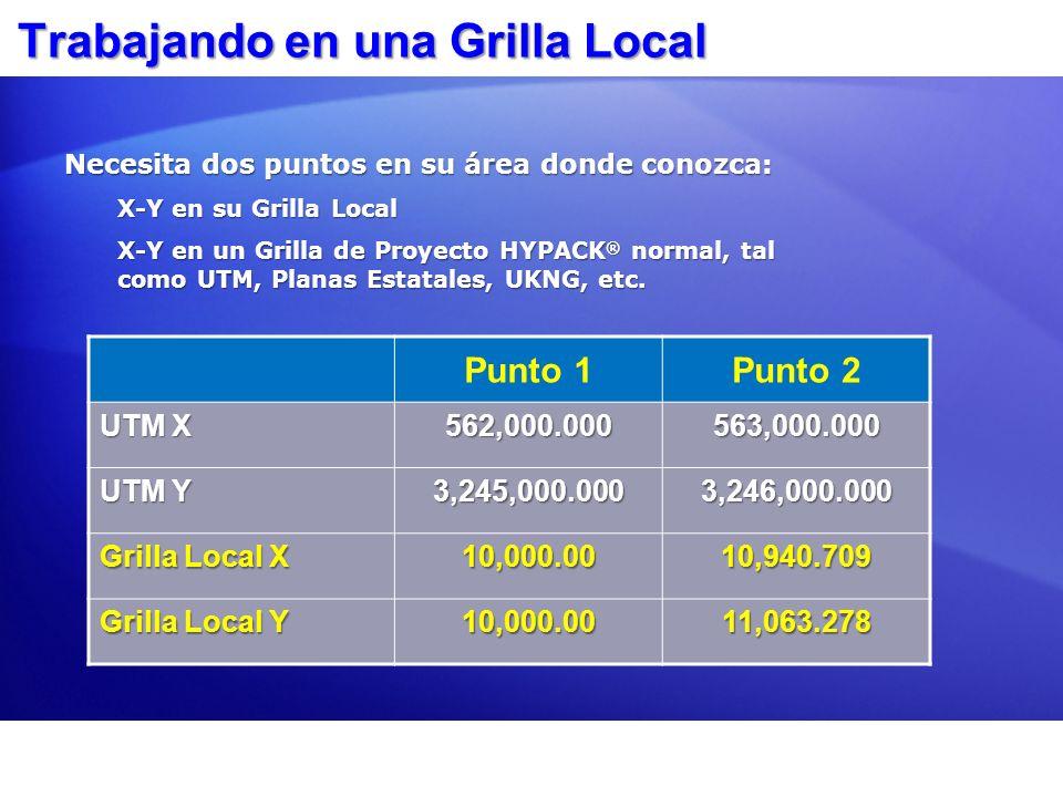 PARAMETROS GEODESICOS: Configuración para Grilla Local Seleccione PARAMETROS GEODESICOS en una Grilla/Zona que HYPACK conozca (e.g.: UTM).