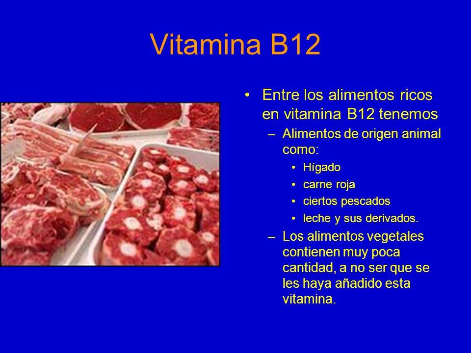 Vitamina B12 Entre los alimentos ricos en vitamina B12 tenemos –Alimentos de origen animal como: Hígado carne roja ciertos pescados leche y sus deriva
