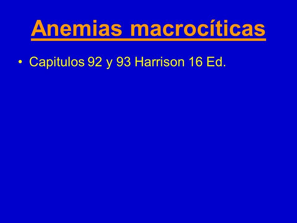 Anemias macrocíticas Capitulos 92 y 93 Harrison 16 Ed.