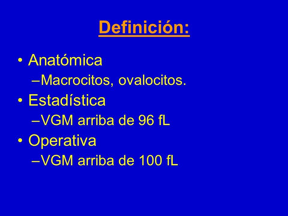 Definición: Anatómica –Macrocitos, ovalocitos. Estadística –VGM arriba de 96 fL Operativa –VGM arriba de 100 fL