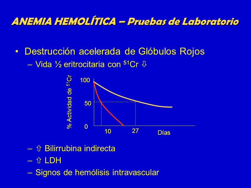 Destrucción acelerada de Glóbulos Rojos –Vida ½ eritrocitaria con 51 Cr – Bilirrubina indirecta – LDH –Signos de hemólisis intravascular ANEMIA HEMOLÍ