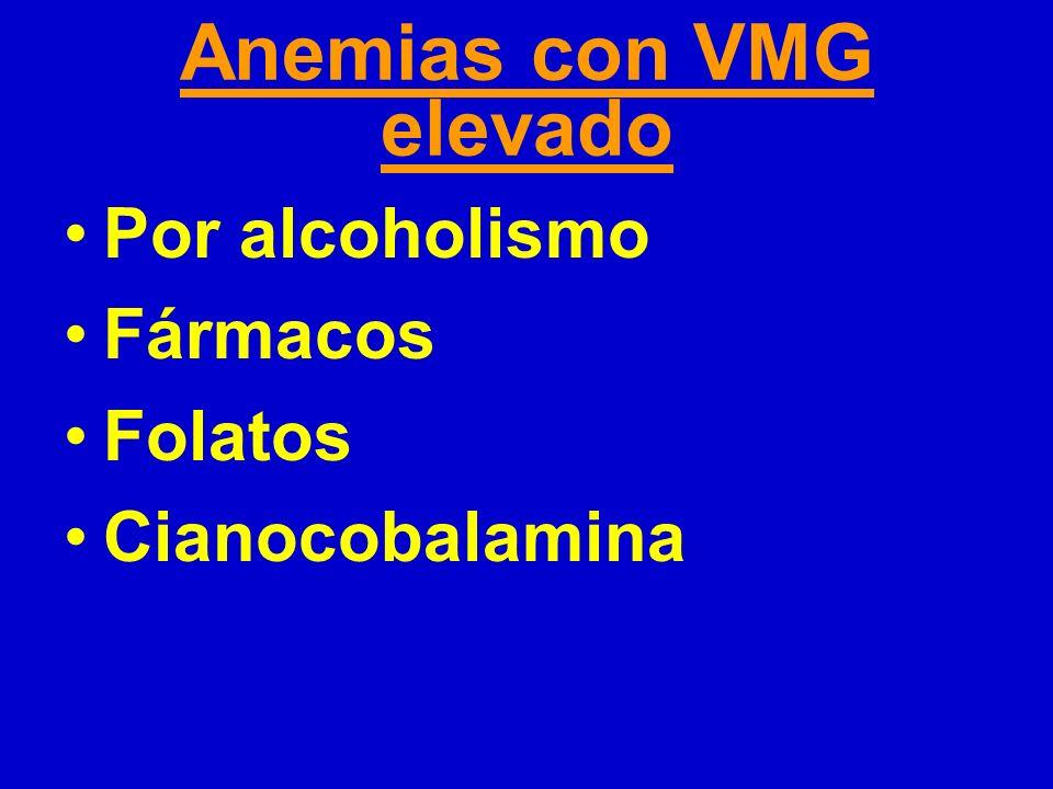 Anemias con VMG elevado Por alcoholismo Fármacos Folatos Cianocobalamina