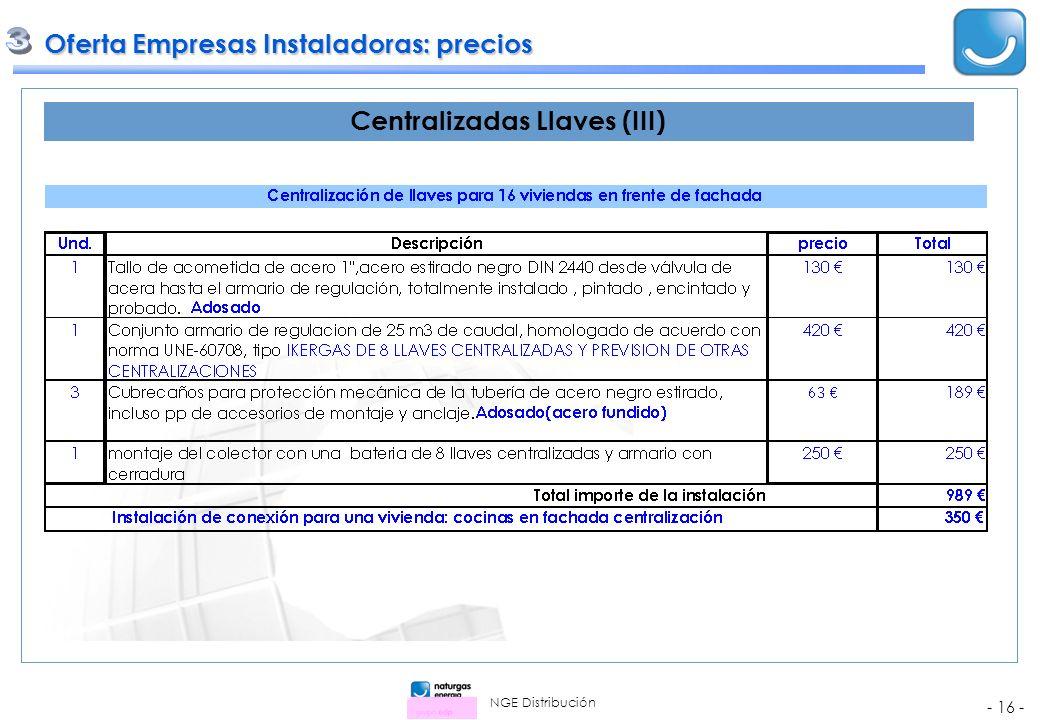 NGE Distribución - 16 - Oferta Empresas Instaladoras: precios Oferta Empresas Instaladoras: precios Centralizadas Llaves (III)