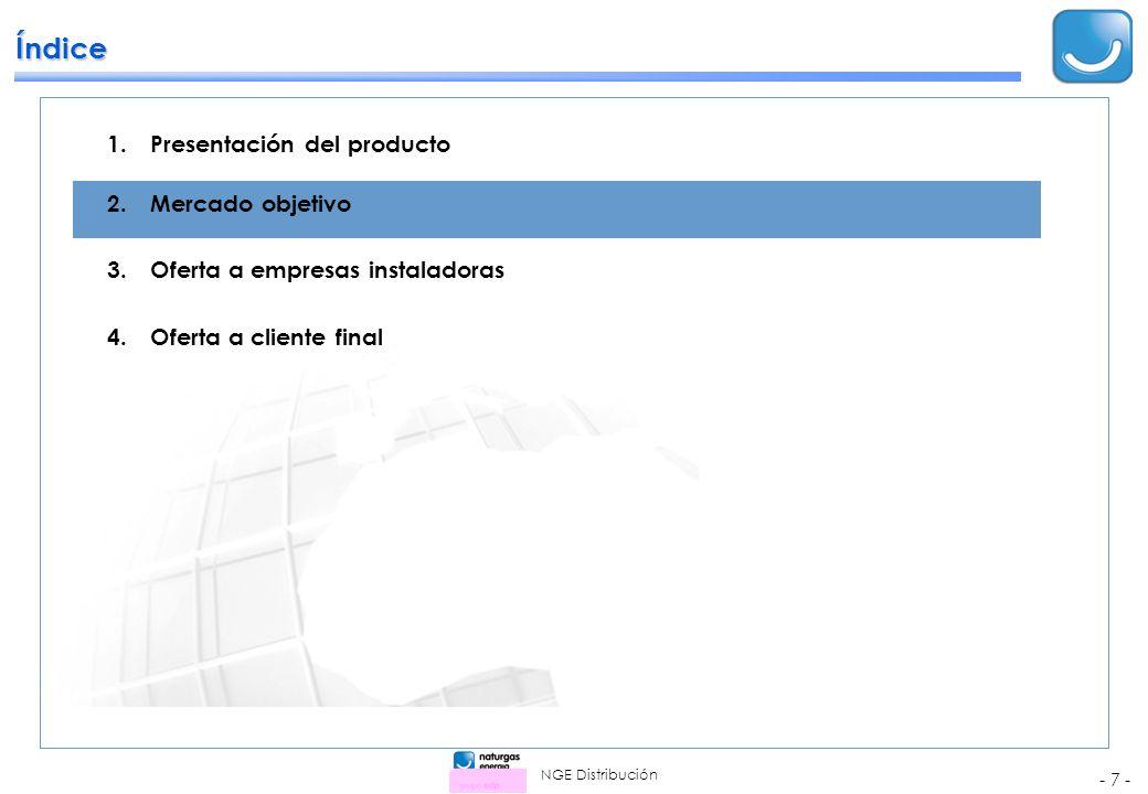NGE Distribución - 7 - 1.Presentación del producto 2.Mercado objetivo 3.Oferta a empresas instaladoras 4.Oferta a cliente final Índice