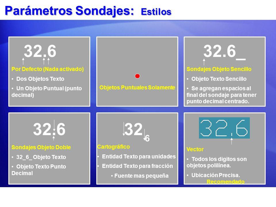 Parámetros Sondajes: Estilos Objetos Puntuales Solamente 32.6_ Sondajes Objeto Sencillo Objeto Texto Sencillo Se agregan espacios al final del sondaje