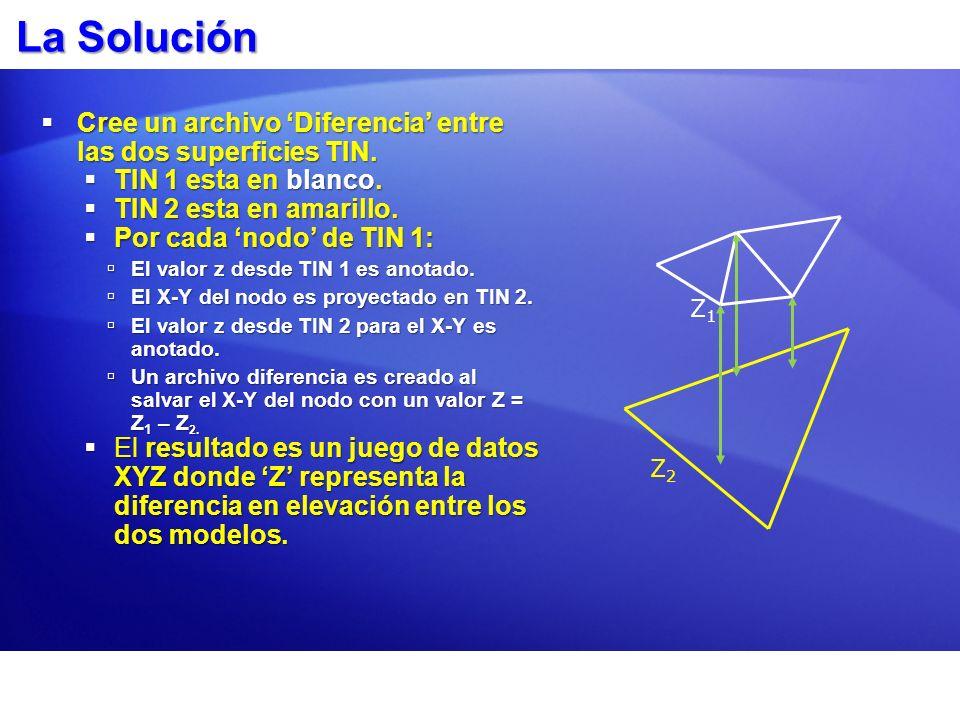 La Solución Cree un archivo Diferencia entre las dos superficies TIN. Cree un archivo Diferencia entre las dos superficies TIN. TIN 1 esta en blanco.