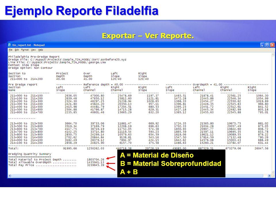 Ejemplo Reporte Filadelfia Exportar – Ver Reporte. A= A = Material de Diseño B = Material Sobreprofundidad A + B